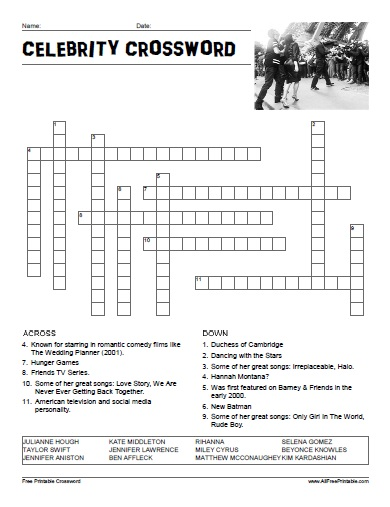 Celebrities crosswords