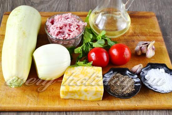 Ингредиенты для приготовления фаршированных кабачков фаршем в духовке