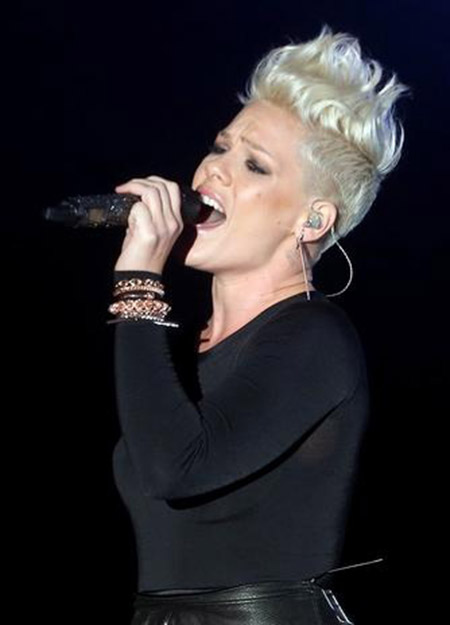 Pink's Awesome, Funky, and Spiky Pixie Cut