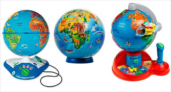 3 модели глобусов с полезными дополнениями