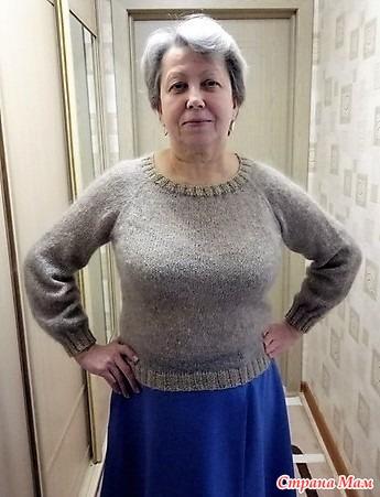 Женский свитер связать регланом сверху
