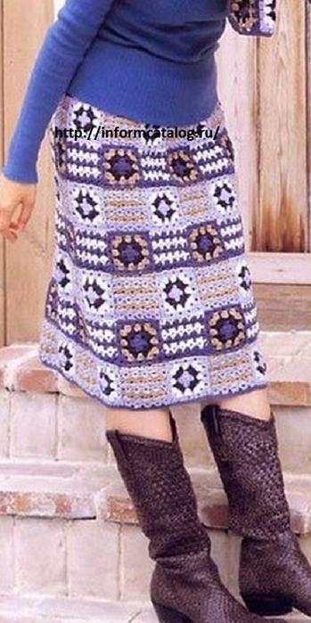 Теплые вязаные крючком юбки