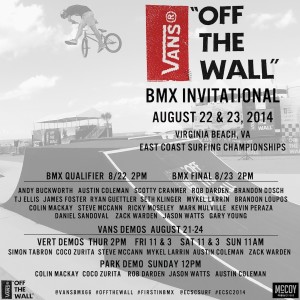 "2014 Vans ""Off The Wall"" BMX Invitational at ECSC"