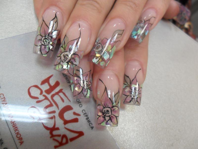 Аквариумный дизайн с блестками ногтей фото