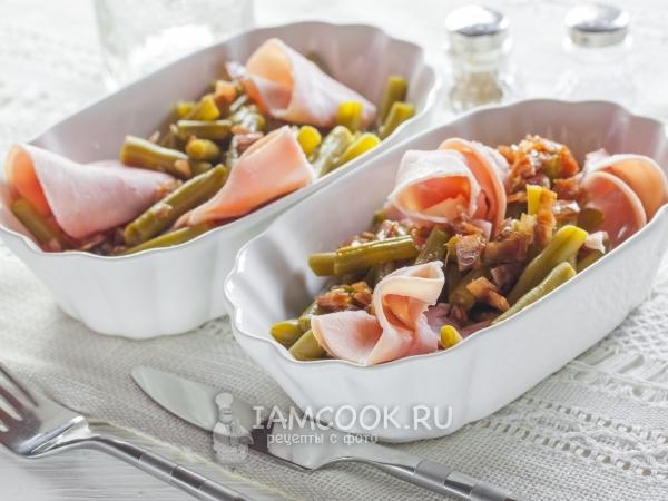 Салат с зеленой фасолью и ветчиной — рецепт с фото пошагово