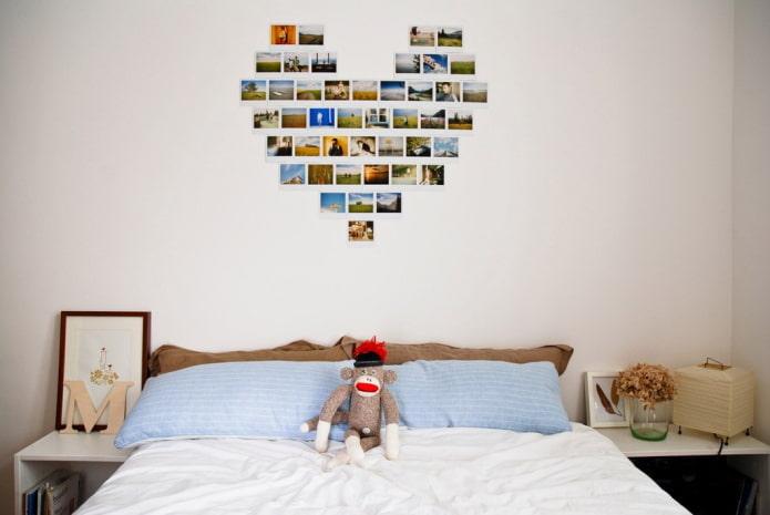 фотографии в виде сердца на стене в интерьере