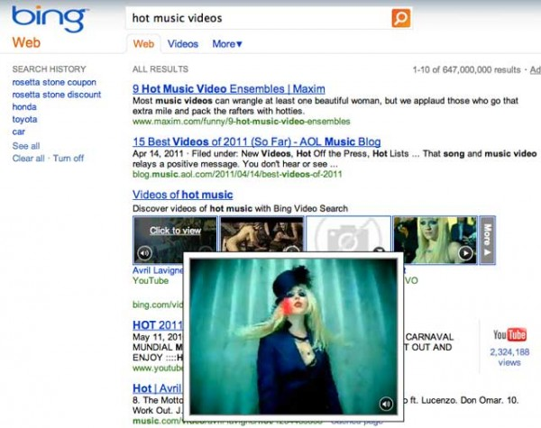Bing video thumbnails