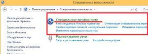 Вход в специальные возможности в панели управления в Windows 8