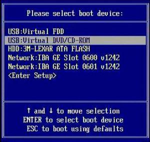 Выбор девайса для загрузки компьютера