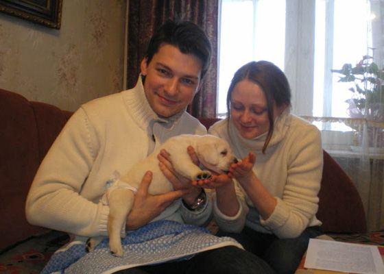 Страхов и Леонова с собачкой