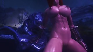Animated monster engulfs this redhead with huge juggs