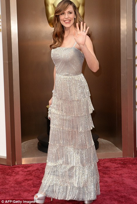 Taking it to the fringe: Jennifer Garner sported a silver gown with tiered detail