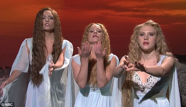 The Sirens: Christina plays a goddess alongside Nasim Pedrad, left, and Kate McKinnon, right