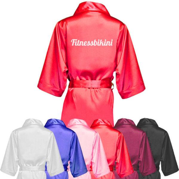 Атласный халат «Fitnessbikini» для фитнес-бикини (красный)