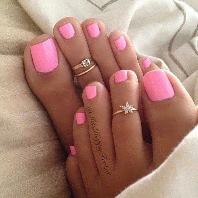 Long pink toenails