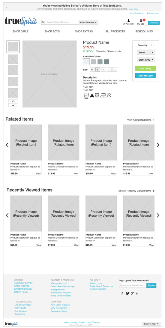 category page mockup for truespirit project