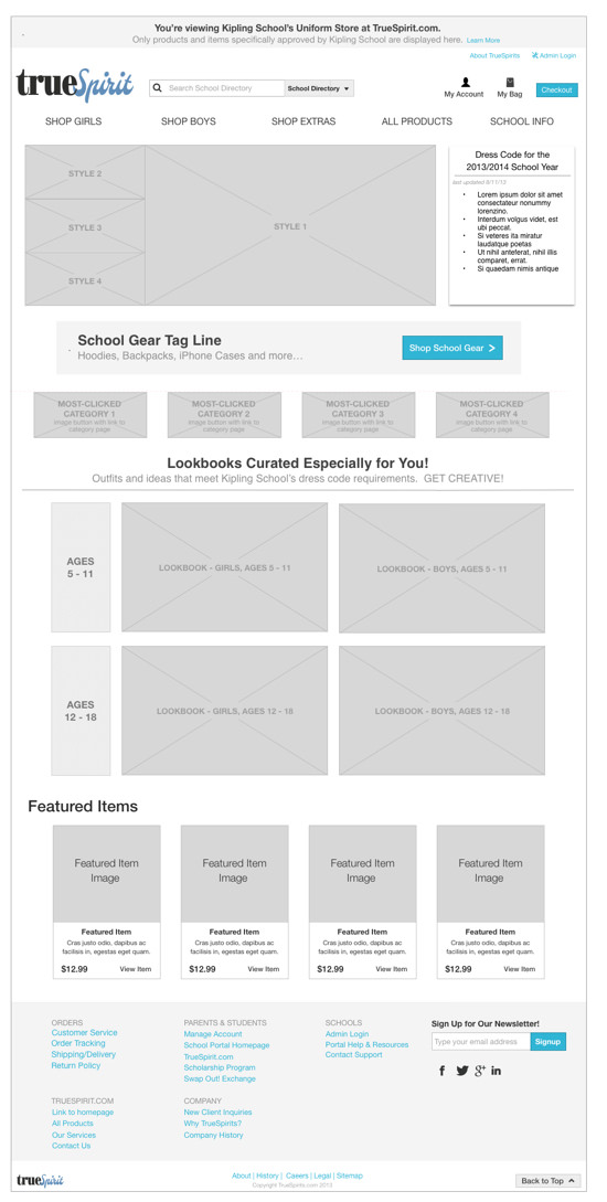 homepage mockup for truespirit project