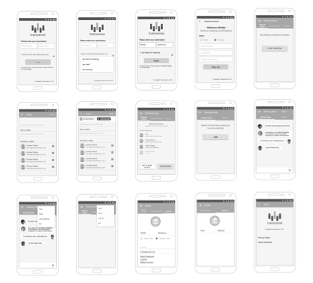 android app screens for transcense ux project