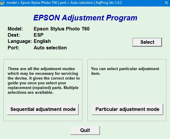 Epson t60 adjustment program communication error