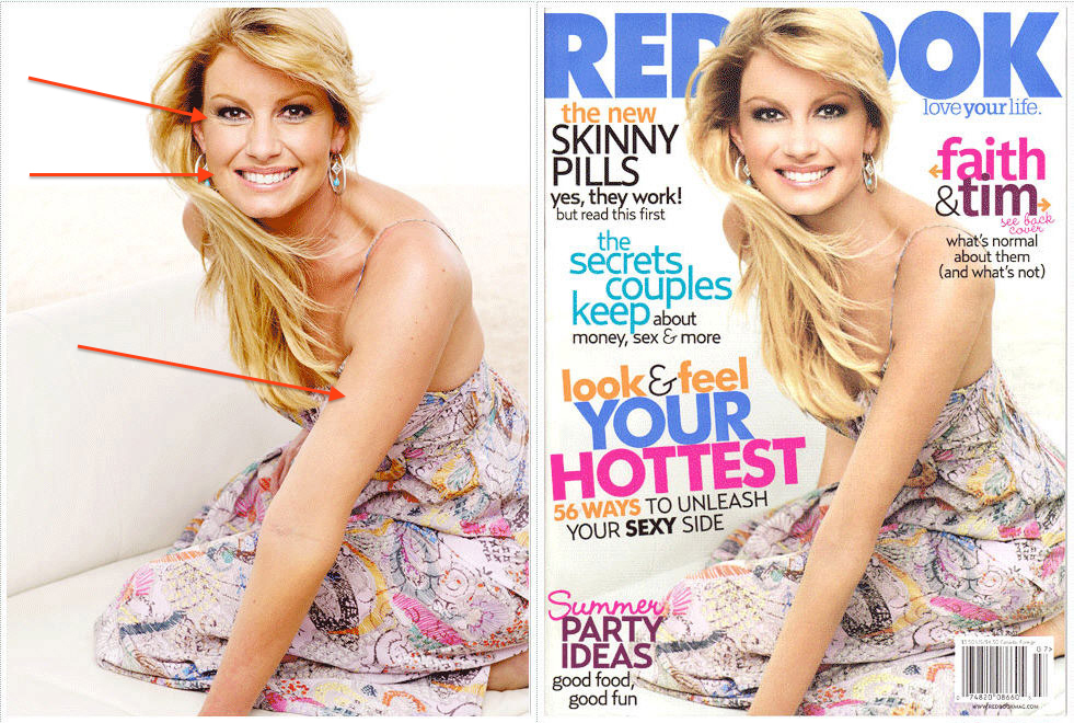 Celebrity airbrush before and after