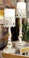 Beige Metal Rustic Set of 2 Candle Holders