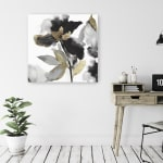 Black Petals Gold Leaves II Canvas Giclee - 2