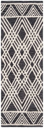 "Essence Black Wool Rug 2'25"" x 7' - 3"