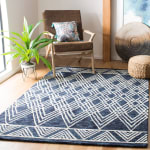 Essence Blue Wool Rug 5' Round - 1