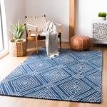Blue Wool Rug 4' x 6' - 1
