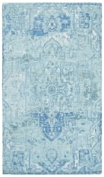 Blue Polyester Rug - 5