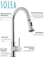 Safavieh Enchant Chrome Brass Single Control Dual Function Spray Pull Down Kitchen Faucet - 3