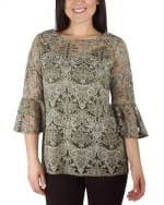 NY Collection Bell Sleeve Blouse And Solid Camisole - 1