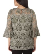 NY Collection Bell Sleeve Blouse And Solid Camisole - 2