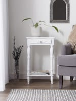 Carved White Side Table - 1