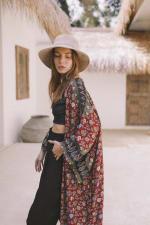 Cranberry Floral Kimono - 5
