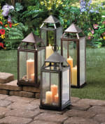 Large Rustic Silver Contemporary Lantern - 1