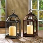Rustic Silver Contemporary Lantern - 1