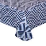 J&M Navy Grid Vinyl Tablecloth 60x84 - 2