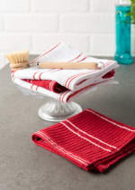 J&M Red Ribbed Terry Dishcloth (Set of 12) - 1