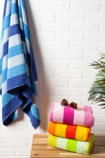 J&M Cabana Blue Stripe Beach Towel - 1