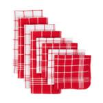 J&M Red Waffle Weave  Dishtowel & Dishcloth (Set of 8) - 1