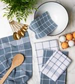 Blue Waffle Weave Dishtowel Set of 6 - 4
