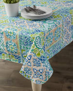 "Spanish Tile Vinyl Tablecloth 70"" Round - 1"