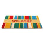 J&M Welcome Stripe Vinyl Back Coir Doormat 18x30 - 3