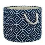 Polyester Storage Bin Stained Glass Navy Round Large 15x16x16 - 1