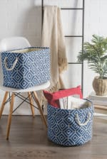 Polyester Storage Bin Stained Glass Navy Round Large 15x16x16 - 2