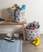 Polyester Storage Bin Ikat French Blue Rectangle Medium 16x10x12 - 4