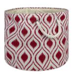 Polyester Storage Bin Ikat Barn Red Round Large 15x16x16 - 1