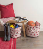 Polyester Storage Bin Ikat Barn Red Round Large 15x16x16 - 1
