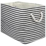 Paper Storage Bin Pinstripe Black Rectangle Medium 15x10x12 - 2